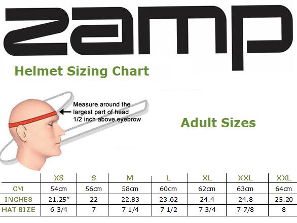 Zamp Racing Helmet Size chart